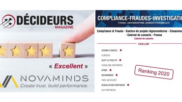 "Novaminds classé ""Excellent"" en Compliance - Fraude - Investigations par Décideurs Magazine !"
